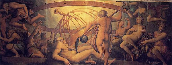 The Mutiliation of Uranus by Saturn, by Giorgio Vasari & Cristofano Gherardi - 1555